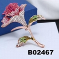 antique crystal stone rhinestone metal rose flower brooch 4