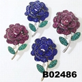 antique crystal stone rhinestone metal rose flower brooch 6