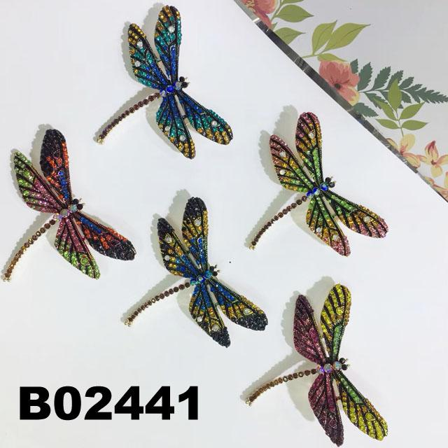 wholesale antique colorful crystal stone dragonfly brooches 1