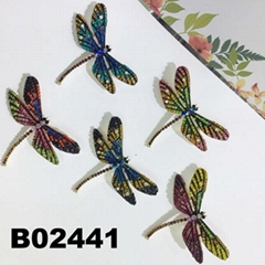 wholesale antique colorful crystal stone dragonfly brooches