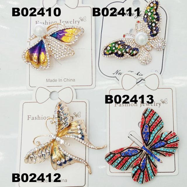wholesale antique colorful crystal stone dragonfly brooches 3