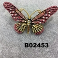 wholesale antique colorful crystal stone butterfly brooches 2