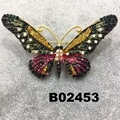wholesale antique colorful crystal stone butterfly brooches 3
