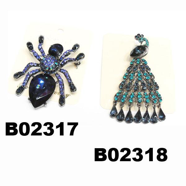 assorted men women crystal stone spider brooch 2