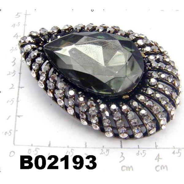 fashion big crystal rhinestone teardrop shaped brooch 1