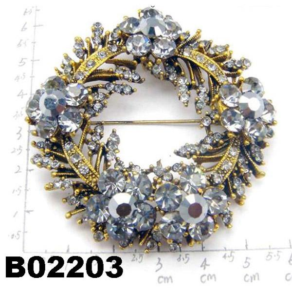 fashion shining crystal stone christmas circle ring brooch 2