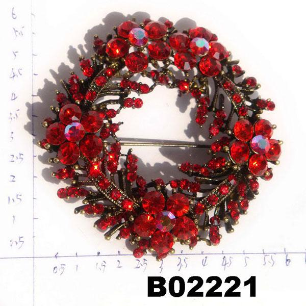 fashion shining crystal stone christmas circle ring brooch 3