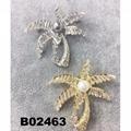 fashion shining crystal zircon stone big pearl palm tree brooch