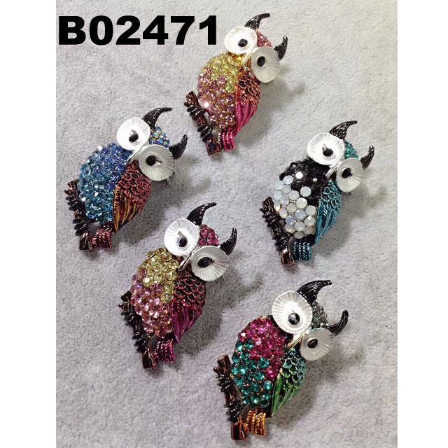 fashion mens women crystal stone animal owl brooch 1