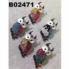 fashion mens women crystal stone animal owl brooch