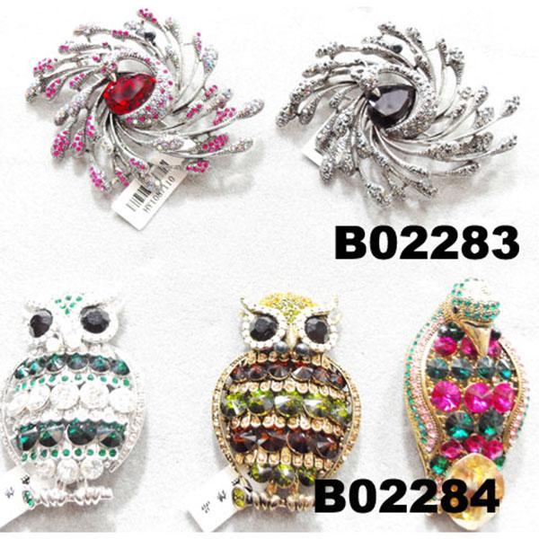 fashion mens women crystal stone animal owl brooch 2