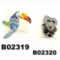 fashion mens women crystal stone animal owl brooch 3