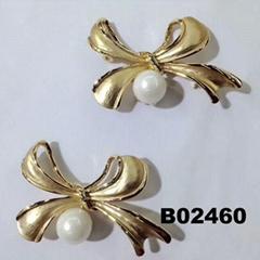 fashion big pearl crystal stone bowknot metal brooch