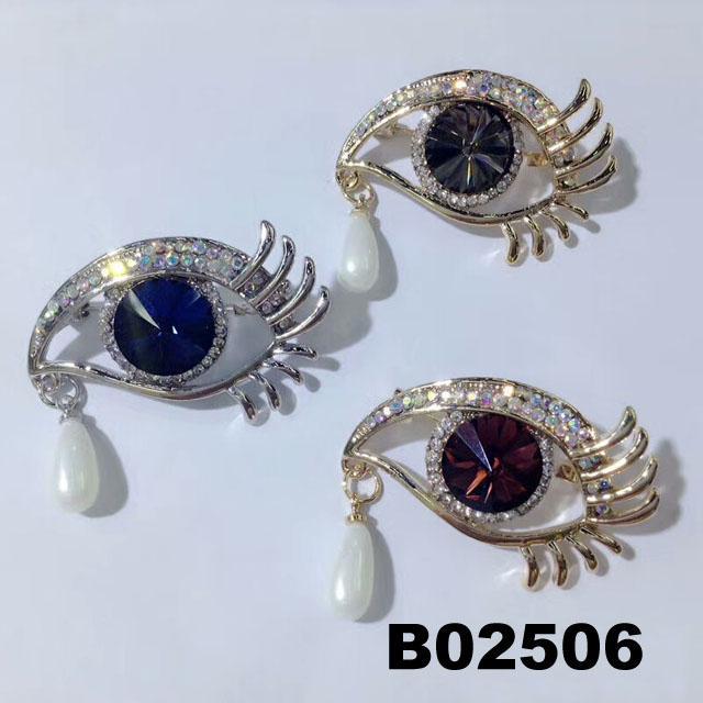 fashion women crystal stone eye brooch 1