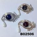 fashion women crystal stone eye brooch