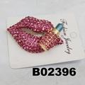 fashion women crystal stone red lip brooch