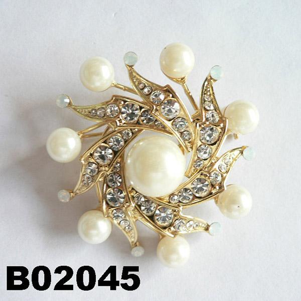 fashion women crystal stone pearl metal brooch 3