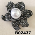 fashion women crystal stone pearl metal brooch 4