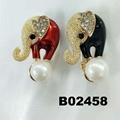fashion women crystal stone pearl metal brooch 5