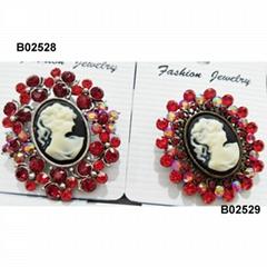 fashion crystal stone beauty cameo brooch wholesale