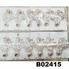 fashion crystal rhinestone stone metal music note brooch pin