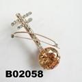 fashion crystal zircon stone violin brooch