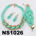 fashion women rope braided necklace earring bracelet jewelry sets wholesale