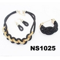 fashion women rope braided necklace earring bracelet jewelry sets wholesale 2