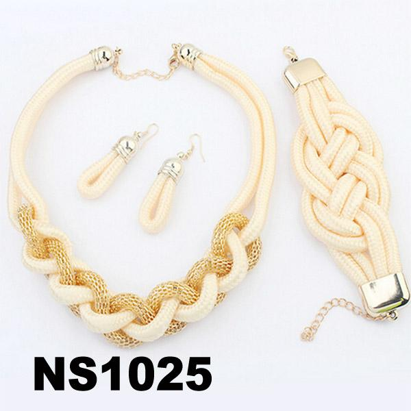 fashion women rope braided necklace earring bracelet jewelry sets wholesale 3