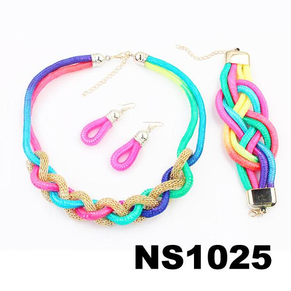 fashion women rope braided necklace earring bracelet jewelry sets wholesale 4