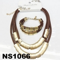 fashion women rope braided necklace earring bracelet jewelry sets wholesale 5