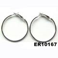 women silver gold plated metal spring hoop earrings