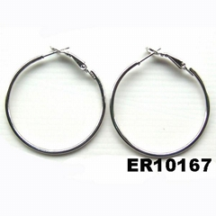 women silver gold plated metal spring hoop earrings