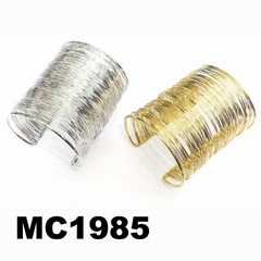 women men gold silver plated metal cable wire cuff bracelet