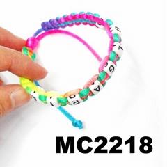 girls letter beads charm rope braided bracelet wholesale