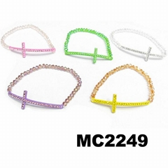 natural crystal beads stone sideway cross charm elastic bracelet