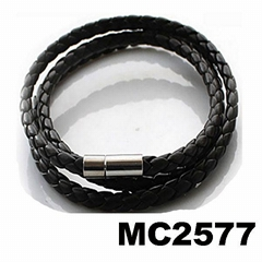 fashion mens women long braided leather wrap bracelet