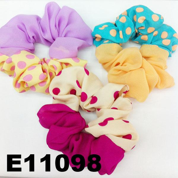 women girls print chiffon fabric elastic hair ties wholesale 5