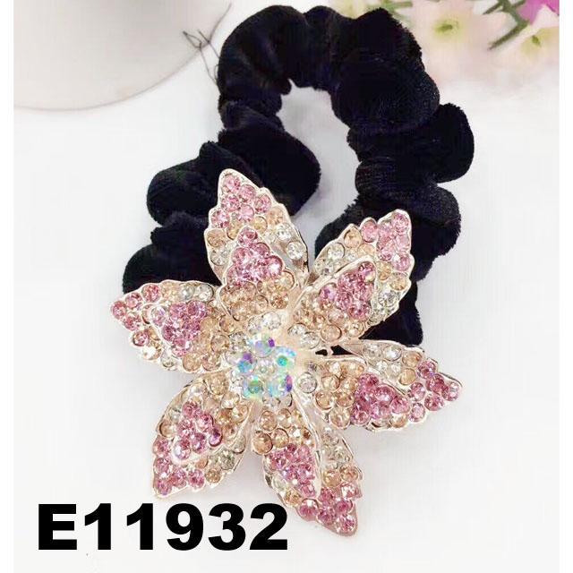 fashion women crystal stone flower ve  et elastic hair bands wholesale 1