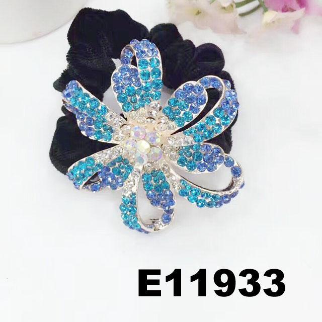 fashion women crystal stone flower ve  et elastic hair bands wholesale 2