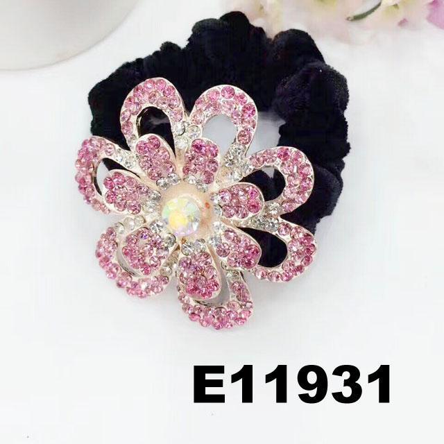 fashion women crystal stone flower ve  et elastic hair bands wholesale 4