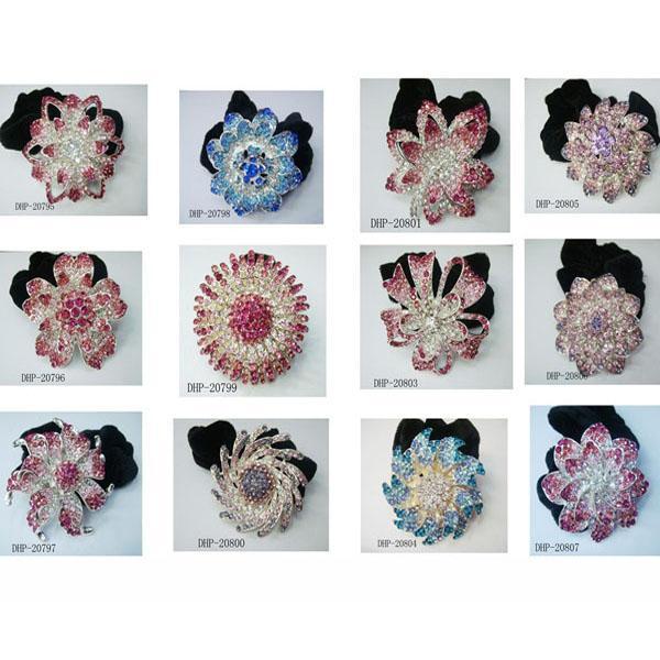 fashion women crystal stone flower ve  et elastic hair bands wholesale 5