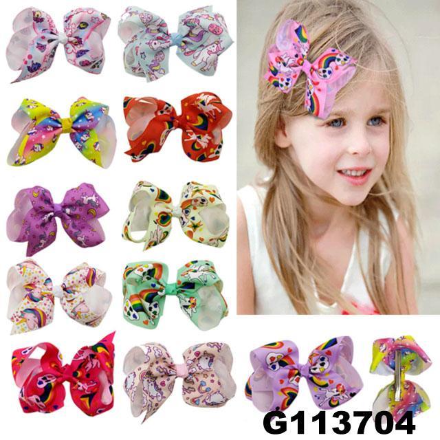 school girls kids big beautiful print hair ribbon bow 1