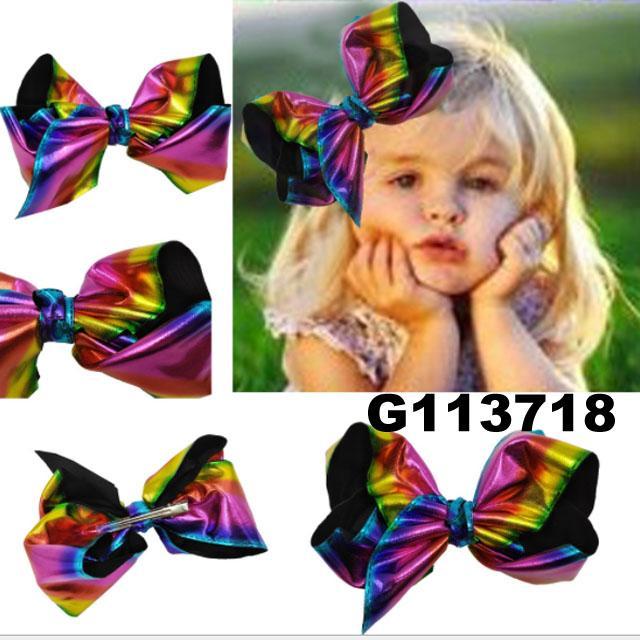 school girls kids big beautiful print hair ribbon bow 5