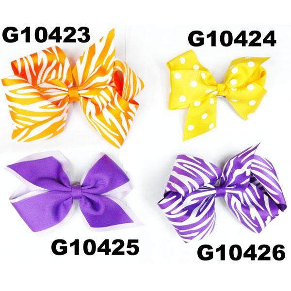 school girls kids big beautiful print hair ribbon bow 8