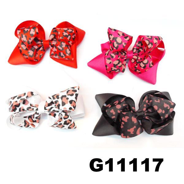 school girls kids big beautiful print hair ribbon bow 9