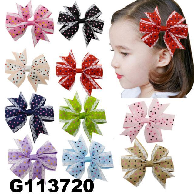 school girls kids big beautiful print hair ribbon bow 11
