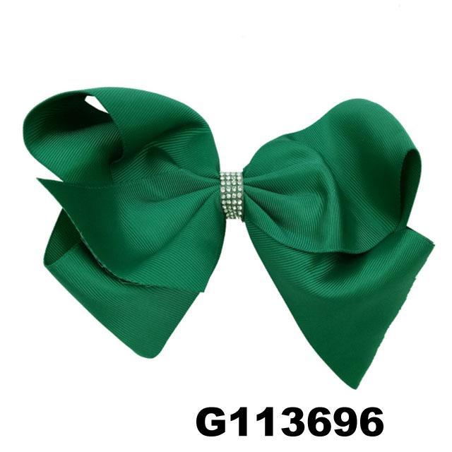 school girls kids large crystal stone ribbon hair bows wholesale 1
