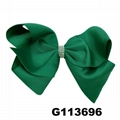 school girls kids large crystal stone ribbon hair bows wholesale