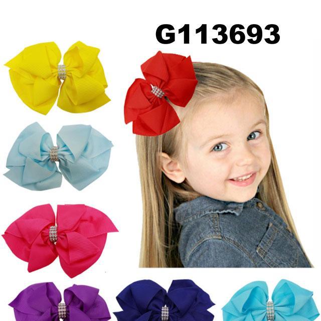 school girls kids large crystal stone ribbon hair bows wholesale 5
